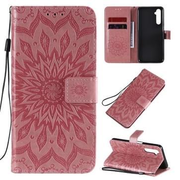 Voor OPPO Realme 6 Reliëf Zonnebloempatroon Horizontaal Flip PU Lederen Case met Holder & Card Slots & Wallet & Lanyard(Pink)