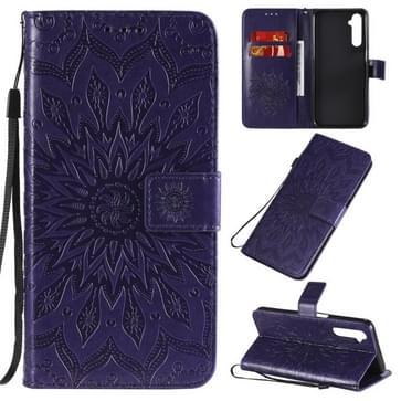 Voor OPPO Realme 6 Reliëf Zonnebloempatroon Horizontaal Flip PU Lederen Case met Holder & Card Slots & Wallet & Lanyard(Paars)