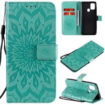 Voor Samsung Galaxy A21s In reliëf Zonnebloempatroon Horizontaal Flip PU Lederen hoes met Holder & Card Slots & Wallet & Lanyard(Groen)