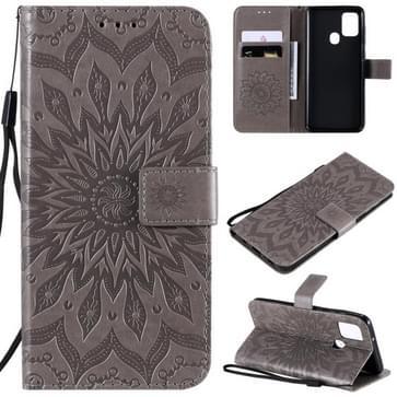 Voor Samsung Galaxy A21s In reliëf Zonnebloempatroon Horizontaal Flip PU Lederen Hoes met Holder & Card Slots & Wallet & Lanyard(Grijs)