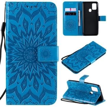 Voor Samsung Galaxy A21s In reliëf Zonnebloempatroon Horizontaal Flip PU Lederen hoes met Holder & Card Slots & Wallet & Lanyard(Blauw)