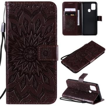 Voor Samsung Galaxy A21s In reliëf Zonnebloempatroon Horizontaal Flip PU Lederen Hoes met Holder & Card Slots & Wallet & Lanyard(Bruin)