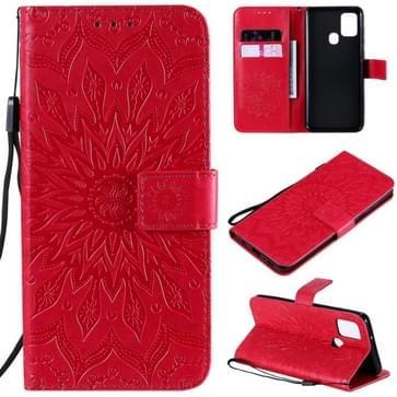 Voor Samsung Galaxy A21s In reliëf Zonnebloempatroon Horizontaal Flip PU Lederen hoes met Holder & Card Slots & Wallet & Lanyard(Red)