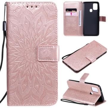 Voor Samsung Galaxy A21s In reliëf Zonnebloempatroon Horizontaal Flip PU Lederen hoes met Holder & Card Slots & Wallet & Lanyard(Rose Gold)