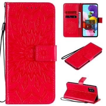 Voor Samsung Galaxy A51 5G Reliëf Zonnebloempatroon Horizontaal Flip PU Lederen Hoes met Holder & Card Slots & Wallet & Lanyard(Rood)