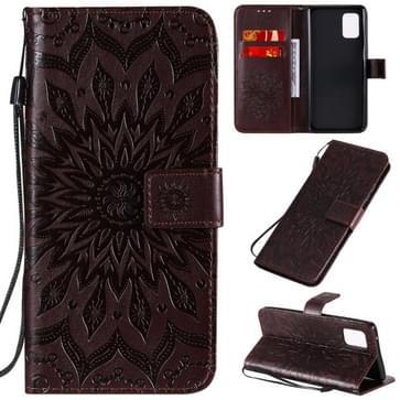 Voor Samsung Galaxy A71 5G Reliëf Zonnebloempatroon Horizontaal Flip PU Lederen Hoes met Holder & Card Slots & Wallet & Lanyard(Bruin)