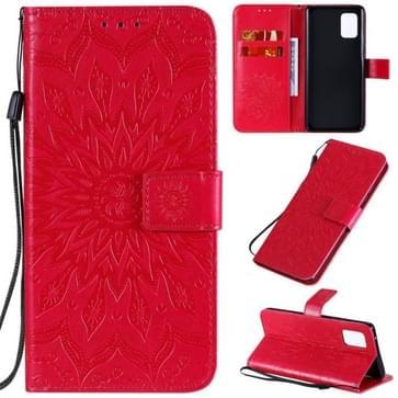 Voor Samsung Galaxy A71 5G Reliëf Zonnebloempatroon Horizontaal Flip PU Lederen hoes met Holder & Card Slots & Wallet & Lanyard(Red)