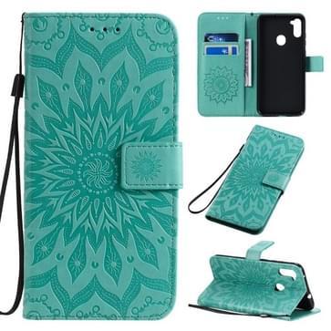 Voor Samsung Galaxy A11 In reliëf zonnebloempatroon horizontaal flip pu lederen hoes met Holder & Card Slots & Wallet & Lanyard(Groen)