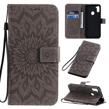 Voor Samsung Galaxy A11 In reliëf zonnebloempatroon horizontaal flip pu lederen hoes met Holder & Card Slots & Wallet & Lanyard(Grijs)