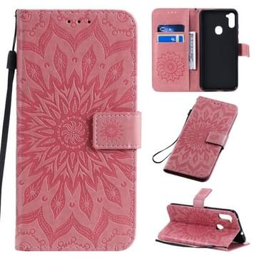 Voor Samsung Galaxy A11 In reliëf zonnebloempatroon horizontaal flip pu lederen hoes met Holder & Card Slots & Wallet & Lanyard(Pink)