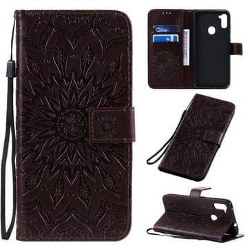 Voor Samsung Galaxy A11 In reliëf zonnebloempatroon horizontaal flip pu lederen hoes met Holder & Card Slots & Wallet & Lanyard(Bruin)