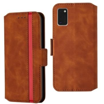 Voor Samsung Galaxy A41 Retro Frosted Oil Side Horizontale Flip Case met Holder & Card Slots(Brown)