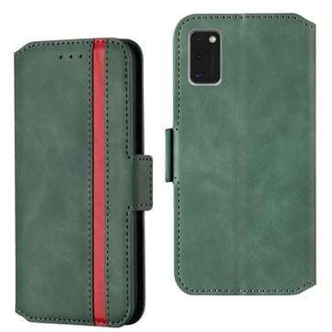 Voor Samsung Galaxy A41 Retro Frosted Oil Side Horizontale Flip Case met Holder & Card Slots(Groen)