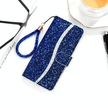 Voor Samsung Galaxy A01 Glitter Powder Horizontale Flip Lederen case met kaartslots & houder & lanyard(blauw)