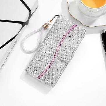 Voor Samsung Galaxy A01 Glitter Powder Horizontale Flip Lederen case met kaartslots & houder & lanyard(zilver)