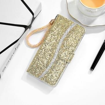 Voor Samsung Galaxy A01 Glitter Powder Horizontale Flip Lederen case met kaartslots & houder & lanyard(goud)