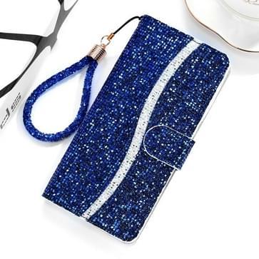 Voor Xiaomi Redmi Note 7 Pro Glitter Powder Horizontale Flip Lederen case met kaartslots & houder & Lanyard(Blauw)