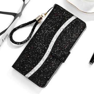 Voor Xiaomi Redmi Note 8 Glitter Powder Horizontale Flip Lederen case met kaartslots & houder & Lanyard(Zwart)