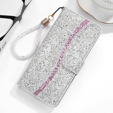 Voor Xiaomi Redmi Note 8 Glitter Powder Horizontale Flip Lederen case met kaartslots & houder & lanyard(zilver)