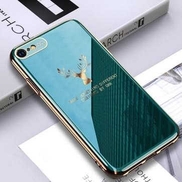 Voor iPhone SE 2020 / 8 / 7 GKK PC + Solid Color Plating Protective Case(Groen)