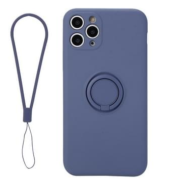 Voor iPhone 11 Solid Color Liquid SiliconEn Schokbestendige full coverage beschermhoes met ringhouder & lanyard(grijs)