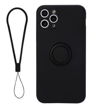 Voor iPhone 11 Pro Max Solid Color Liquid Siliconen Schokbestendige full coverage beschermhoes met ringhouder & lanyard(zwart)