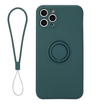 Voor iPhone 11 Pro Max Solid Color Liquid Siliconen Schokbestendige volledige dekking Beschermhoes met Ring Holder & Lanyard(Deep Green)