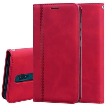 Voor Xiaomi Redmi 8 Frosted Business Magnetic Horizontal Flip PU Leather Case met Holder & Card Slot & Lanyard(Red)
