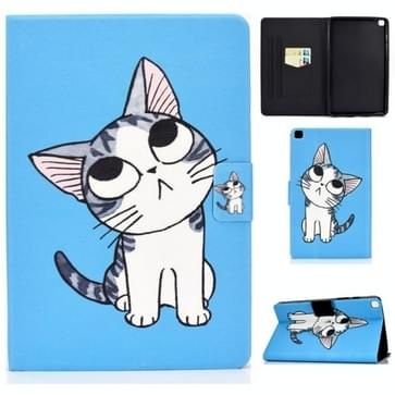 Voor Samsung Galaxy Tab A 8.0 (2019) T290 / T295 Voltage Painted Pattern Tablet PC Protective Leather Case met Bracket & Card Slots & Anti-skid Strip(Blue Cat)