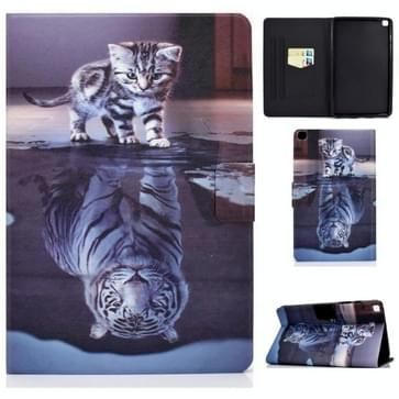 Voor Samsung Galaxy Tab A 8.0 (2019) T290 / T295 Voltage Painted Pattern Tablet PC Protective Leather Case met Bracket & Card Slots & Anti-skid Strip (Cat and Tiger)