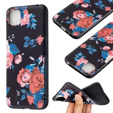 Voor Huawei Y5p / Honor 9S reliëf patroon TPU Soft Protector Cover Case (Rode Bloem)