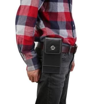 Lambskin Texture Men Leisure Simple Universal Mobile Phone Waist Pack Lederen case met kaartsleuf  geschikt voor 6 7-6 9 inch smartphones(zwart)