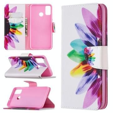 Voor Huawei Honor 9X Lite Gekleurd tekenpatroon horizontaal flip lederen hoesje met houder & kaartslots & portemonnee(Zonnebloem)
