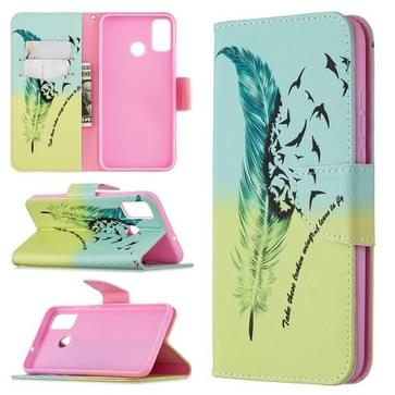 Voor Huawei Honor 9X Lite Gekleurd tekenpatroon horizontaal flip lederen hoesje met houder & kaartslots & portemonnee(Feather Bird)