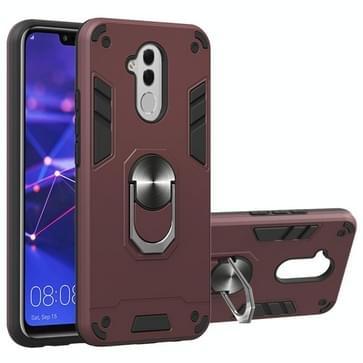 Voor Huawei Mate 20 Lite 2 in 1 Armour Series PC + TPU beschermhoes met ringhouder(wijnrood)