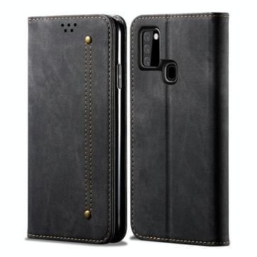 Voor Samsung Galaxy A21s Denim Texture Casual Style Horizontale Flip Lederen case met Holder & Card Slots & Wallet(Zwart)