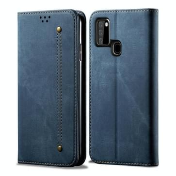 Voor Samsung Galaxy A21s Denim Texture Casual Style Horizontale Flip Lederen case met Holder & Card Slots & Wallet(Blauw)