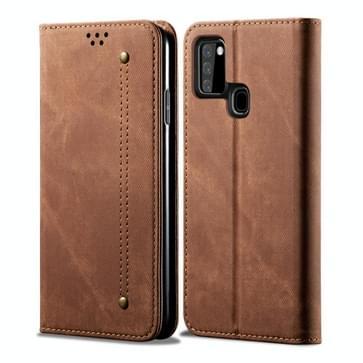 Voor Samsung Galaxy A21s Denim Texture Casual Style Horizontale Flip Lederen case met Holder & Card Slots & Wallet(Brown)