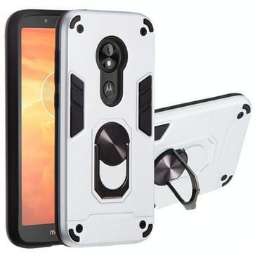 Voor Motorola E5 Play / E5 (US Versie) 2 in 1 Armour Series PC + TPU beschermhoes met ringhouder(Zilver)