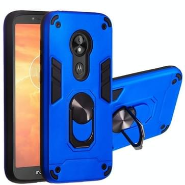 Voor Motorola E5 Play / E5 (US Versie) 2 in 1 Armour Series PC + TPU beschermhoes met ringhouder (Donkerblauw)