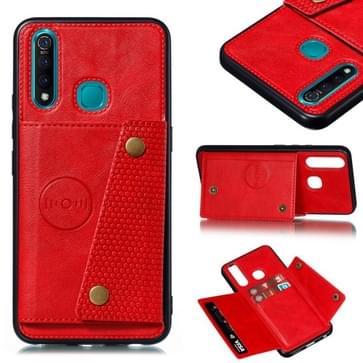 Voor de Vivo Y19 Double Buckle PU + TPU Shockproof magnetische beschermhoes met kaartsleuf(rood)