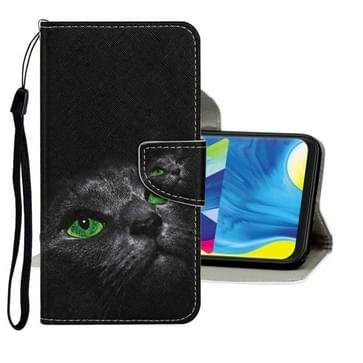 Voor Samsung Galaxy A31 Gekleurd tekenpatroon horizontaal flip lederen hoesje met houder & kaartslots & portemonnee (Cartoon Cat)