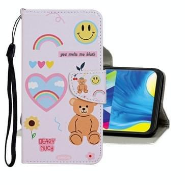 Voor Samsung Galaxy A31 Gekleurd tekenpatroon horizontaal flip lederen hoesje met houder & kaartslots & portemonnee(Bear)