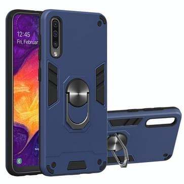Voor Samsung Galaxy A50 & A30s & A50s 2 in 1 Armour Series PC + TPU Beschermhoes met ringhouder(Sapphire Blue)