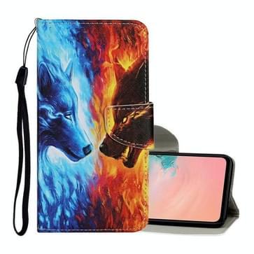 Voor Samsung Galaxy S20 Ultra Gekleurd tekenpatroon Horizontaal Flip Lederen hoesje met Holder & Card Slots & Wallet & Lanyard(Flame Wolf)
