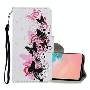 Voor Samsung Galaxy S10 Gekleurd tekenpatroon Horizontaal Flip Lederen hoesje met houder & kaartslots & portemonnee & lanyard(vier vlinders)