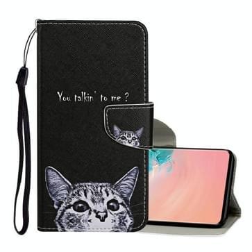 Voor Samsung Galaxy S10 Gekleurd tekenpatroon Horizontaal Flip Lederen hoesje met houder & kaartslots & portemonnee & lanyard(Little Cat)