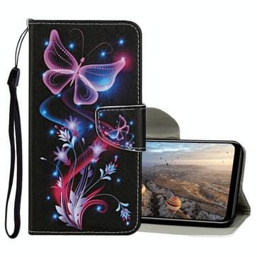 Voor Huawei Honor 9X Lite Gekleurd tekenpatroon horizontaal flip lederen hoesje met houder & kaartslots & portemonnee (fluorescerende vlinder)