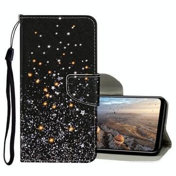Voor Huawei Honor 9X Lite Gekleurd tekenpatroon Horizontaal Flip Lederen hoesje met houder & kaartslots & portemonnee (Zwarte Vijfpuntige ster)
