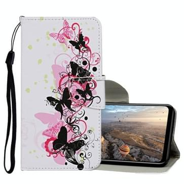 Voor Huawei Honor 9X Lite Gekleurd tekenpatroon horizontaal flip lederen hoesje met houder & kaartslots & portemonnee(vier vlinders)